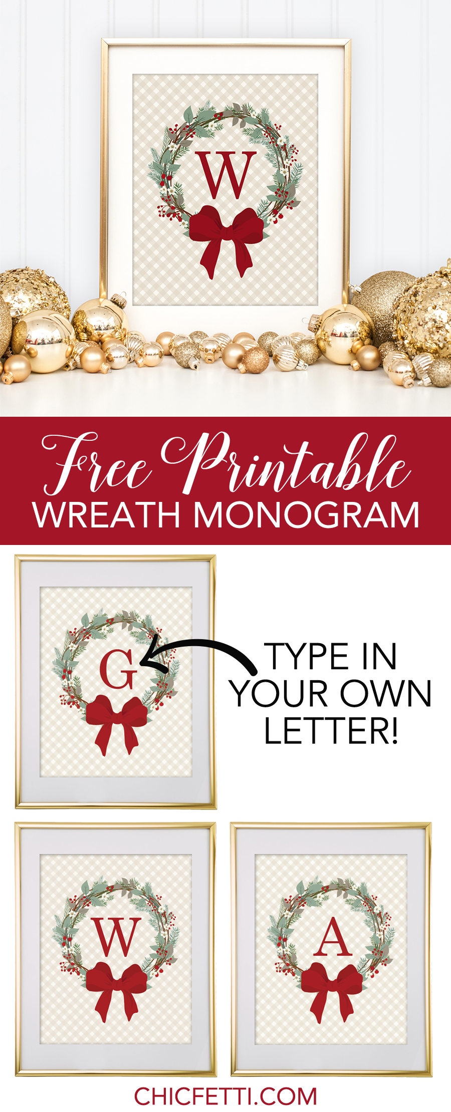Christmas wreath free monogram maker chicfetti blog free free printable christmas wreath monogram from chicfetti make your own monogram kristyandbryce Images