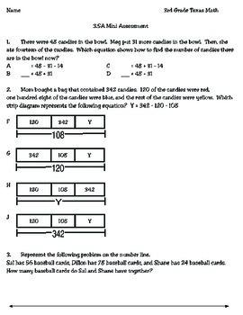 3rd Grade Math 3 5a Mini Assessment 3rd Grade Math Math Math Addition
