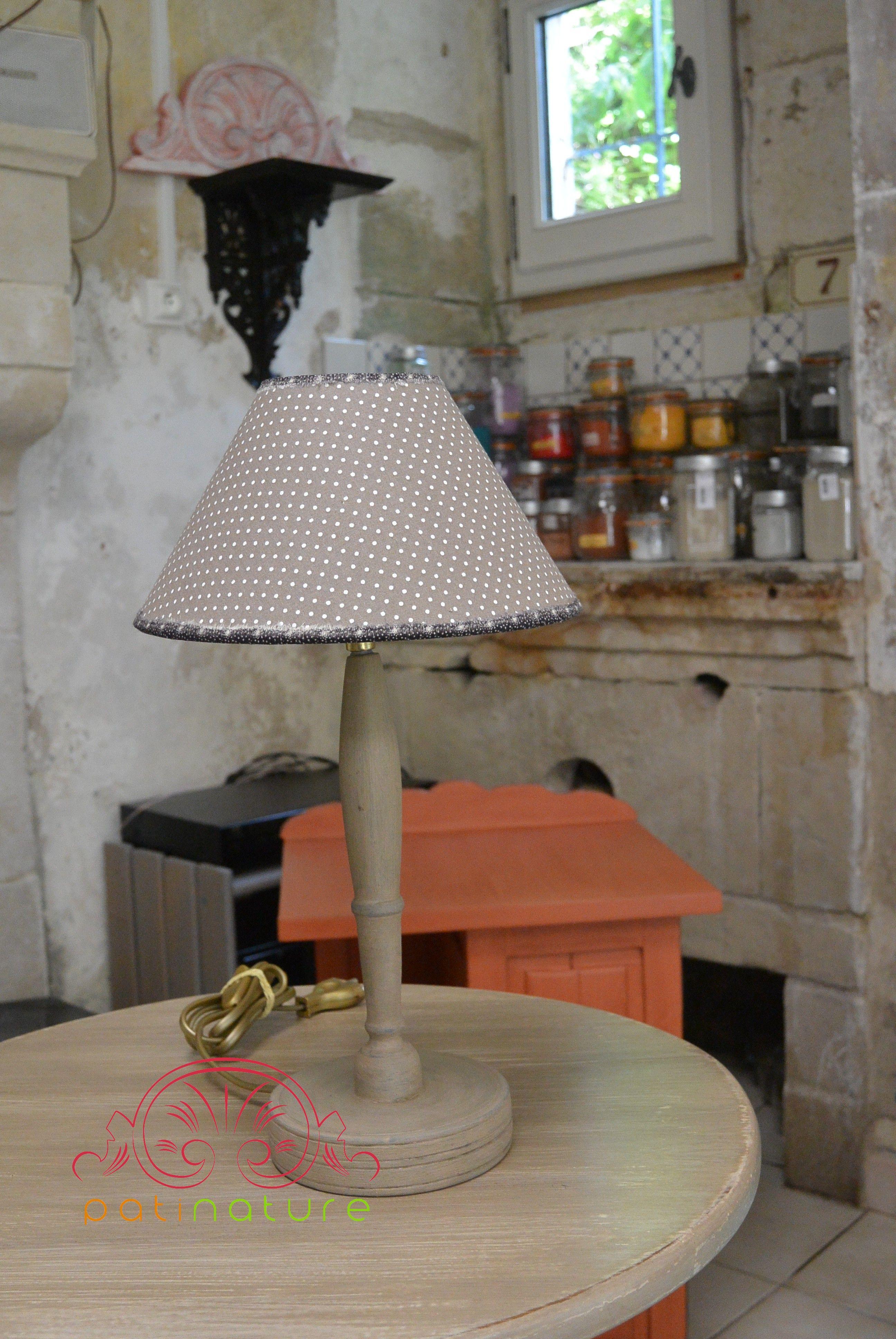 Lampe Champignon Patinature Pied Peint A La Caseine Finition A La