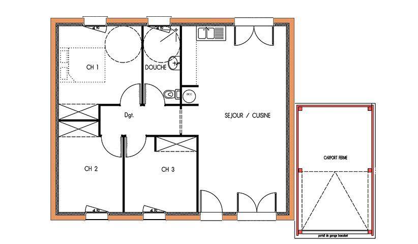 Plan maison design plain pied Loire-Atlantique Plans maisons - plan de maison en l de plain pied gratuit
