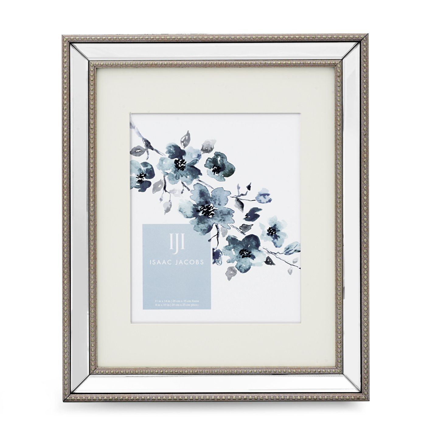 Isaac jacobs mirror bead frame 16x20 matted 11x14 silver isaac jacobs mirror bead frame mat silver this beautiful frame has a beaded finish on a mirrored edge it can be hung on a wall vertically or jeuxipadfo Choice Image