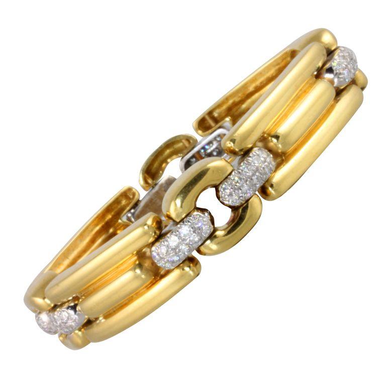 Marlene Stowe . 18kt yellow and platinum 7\'\' bracelet. The amin ...