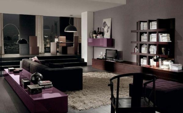 Elegantes Wohnzimmer Lila Braun Beige Schwarz