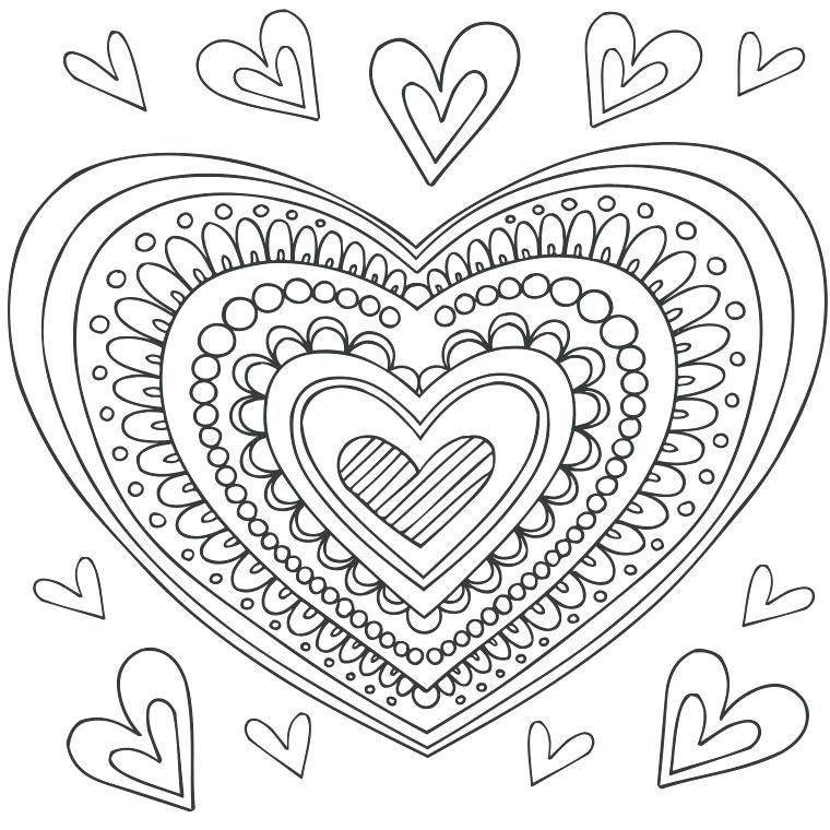 Раскраски Для Девочек Сердце Распечатать