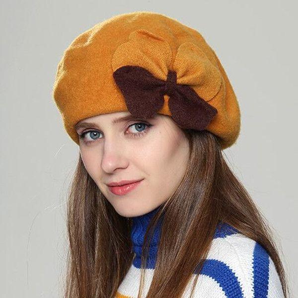 89eb6c8a070 Double bow wool beret hat for women elegant warm winter hats ...
