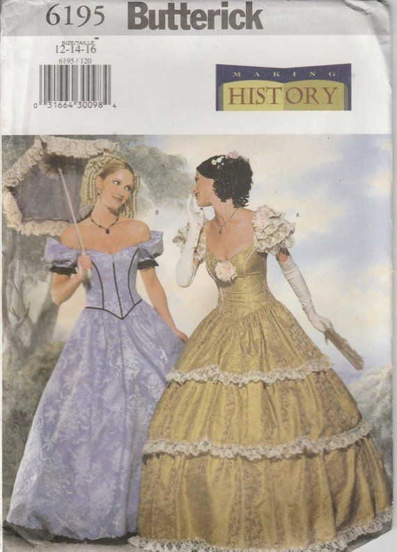 c2d76d3c2c0 Southern Belle Dress Civil War Era Gown Reenactment Misses Size 12 - 14 -  16 Uncut Butterick 6195
