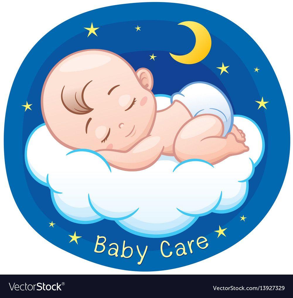 Baby Sleeping Royalty Free Vector Image Vectorstock Baby Cartoon Drawing Baby Drawing Baby Painting