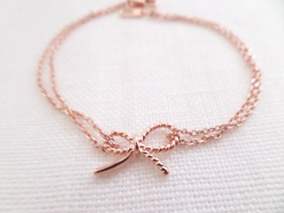 Tiny Rose gold bow bracelet...dainty simple by TiffanyAvenueBridal, $18.00