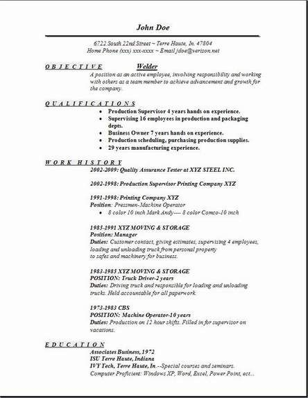resume examples - Free Sample Welder Resume