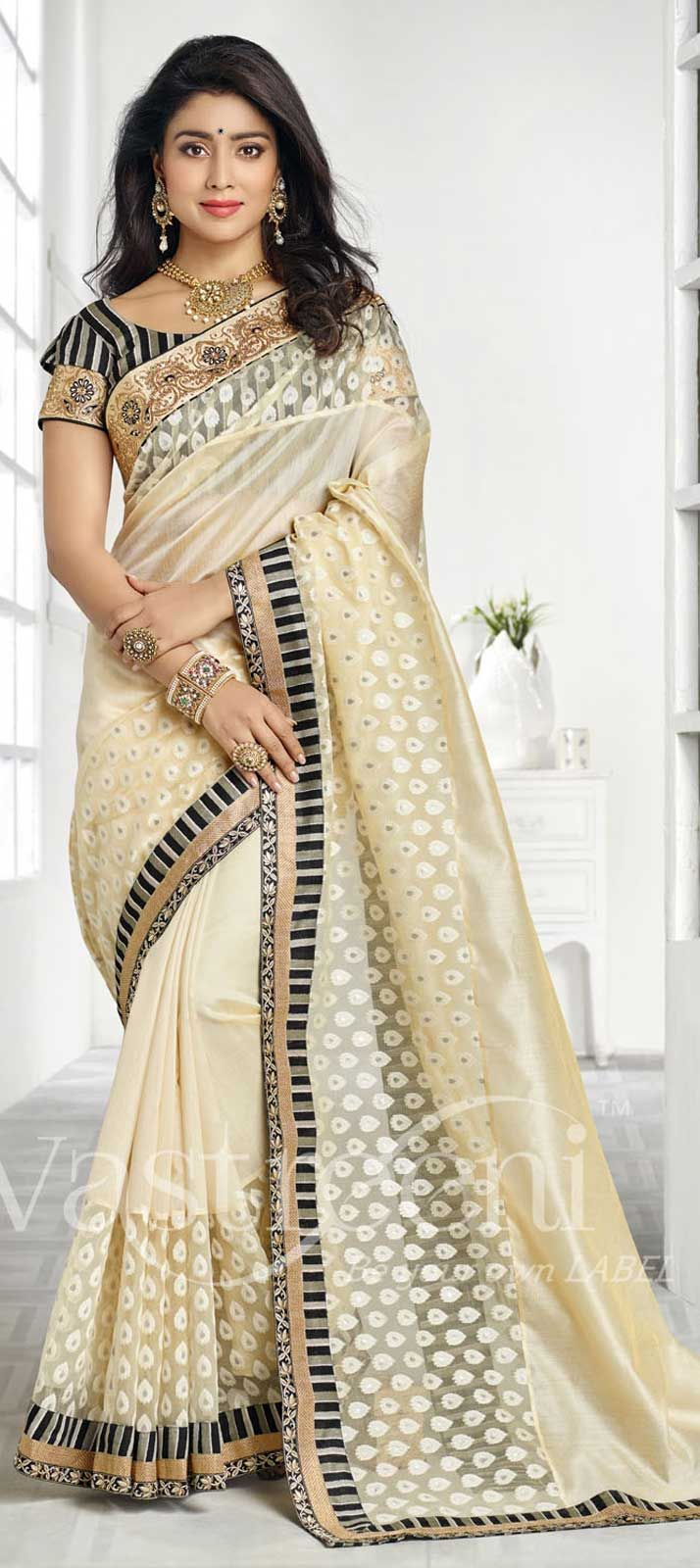 Bollywood Sarees Navels: : Beige And Brown Color Family Bollywood Sarees .