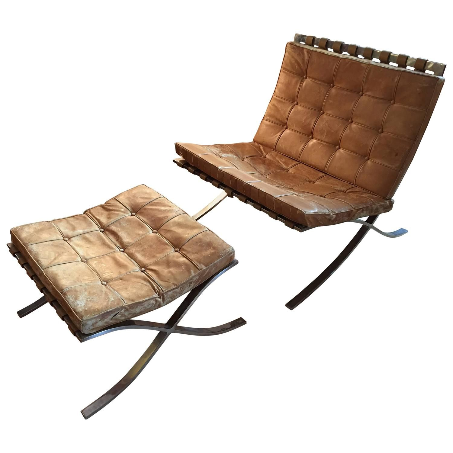 Early Ludwig Mies Van Der Rohe Barcelona Chair With Ottoman By Knoll 1stdibs Com Vintage Lounge Chair Barcelona Chair Mies Van Der Rohe Barcelona Chair
