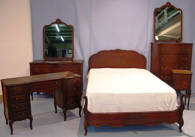 50 - 7 Piece Mahogany Bedroom suite, 1930\'s, Bed, dresser, highboy ...