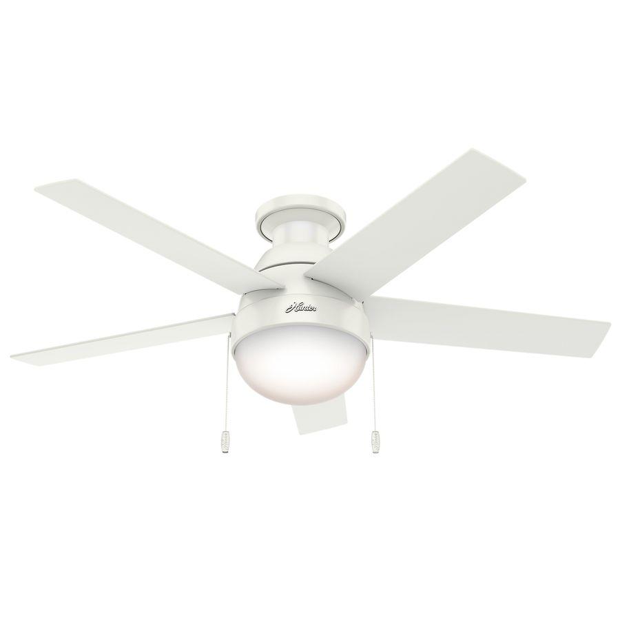 Hunter Anslee 46 In Fresh White Flush Mount Indoor Ceiling Fan With Light Kit