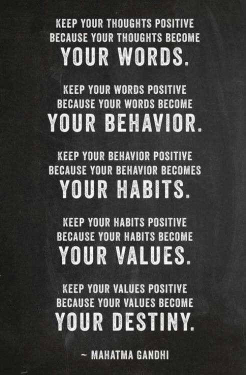 Jouw woorden worden jouw gedrag, jouw gewoonten en jouw waarden. Dat is jouw bestemming