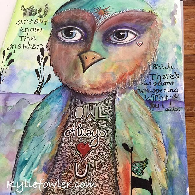 Shhhhhh. There's wisdom whispering within you. Listen.  You already know the answer. By Kylie Fowler #penandwash #angel #giraffe #owl #blissfulpumpkinstudio #kyliefowler #meme #wings #wiseowl #artist #illustrator #myaddiction #illustration #drawing #painting #mixed #media #wings #animals #artwork #whimsy
