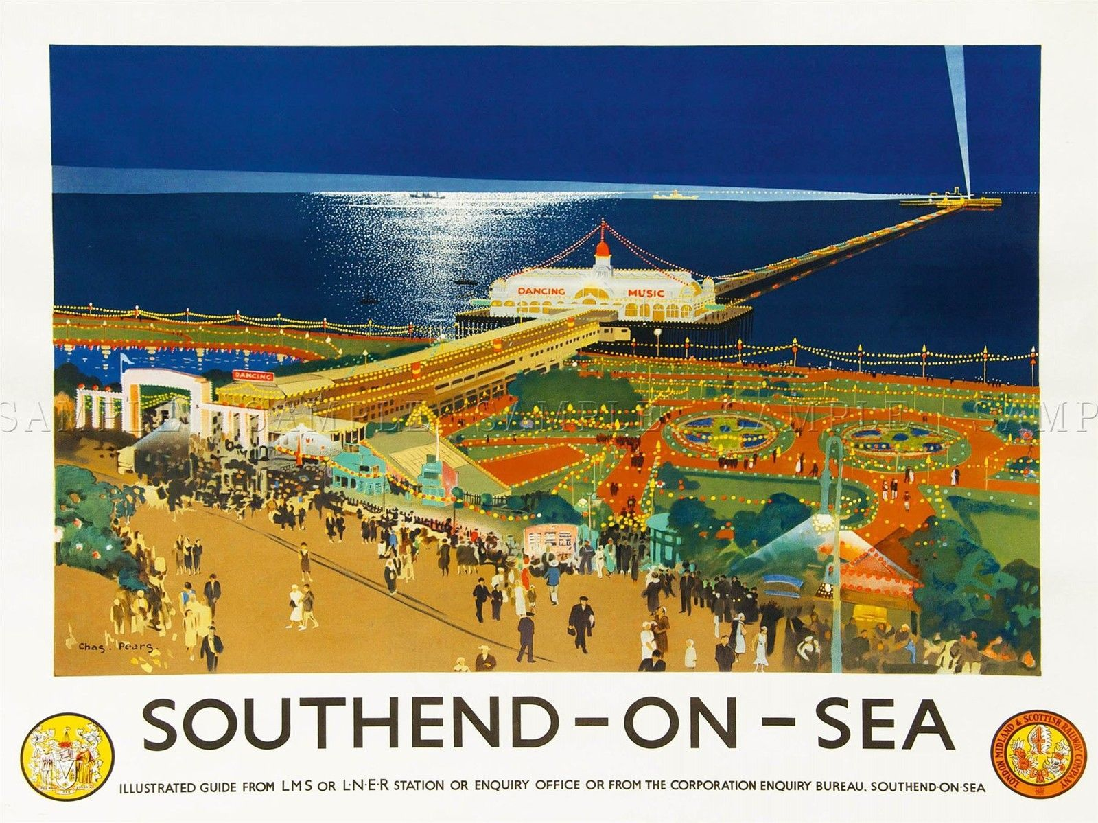 TRAVEL TOURISM TRANSPORT RAIL SOUTHEND PIER BEACH FAIRGROUND UK POSTER LV4289