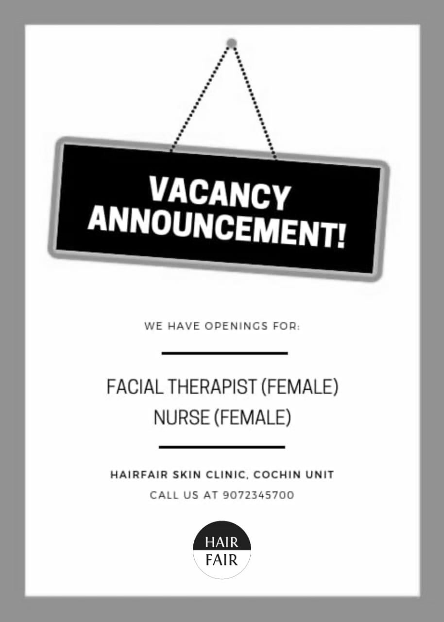 Job Vacancy @HairFairSkinClinic JOIN THE TEAM! Facial