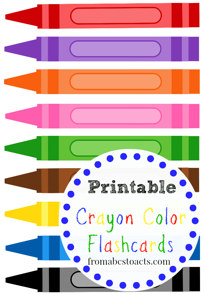 Printable Crayon Color Flashcards