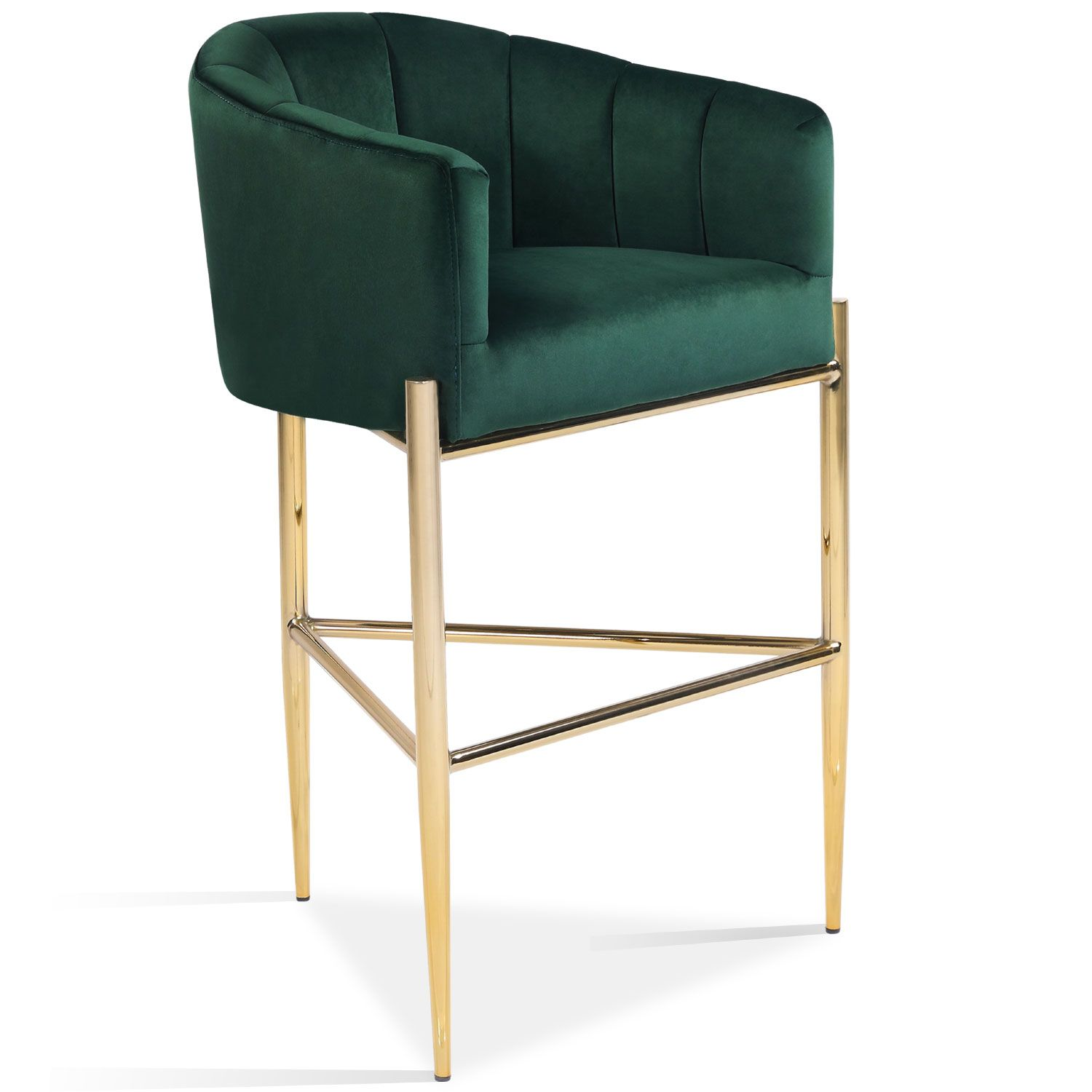 Chic Home Fbs9484 Dr Cyrene Bar Stool Quilted Green Velvet