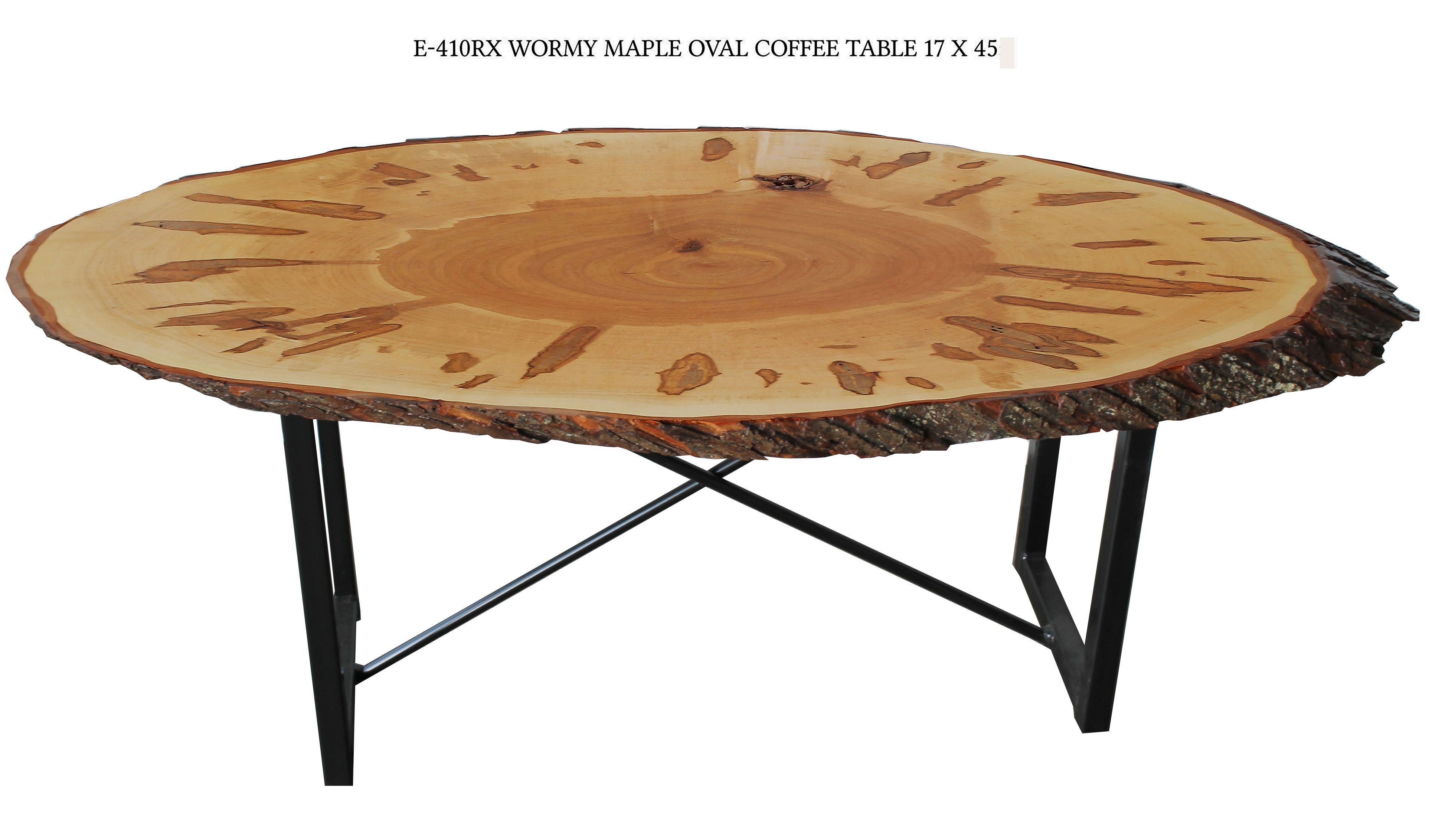 Amish U Leg Solid Wormy Maple Oval Live Edge Coffee Table Delivery
