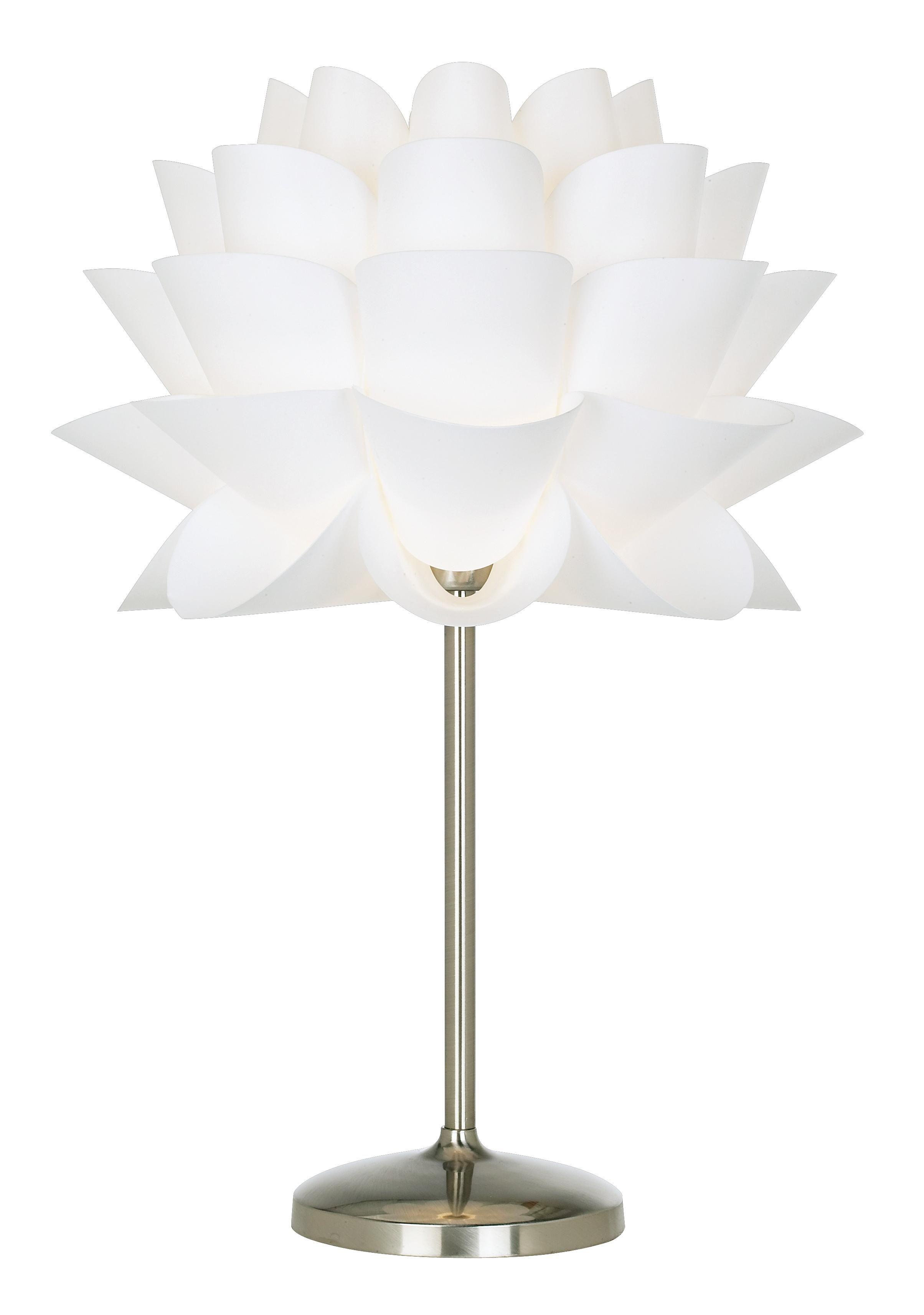 Possini euro design white flower acrylic shade table lamp for Very modern lighting