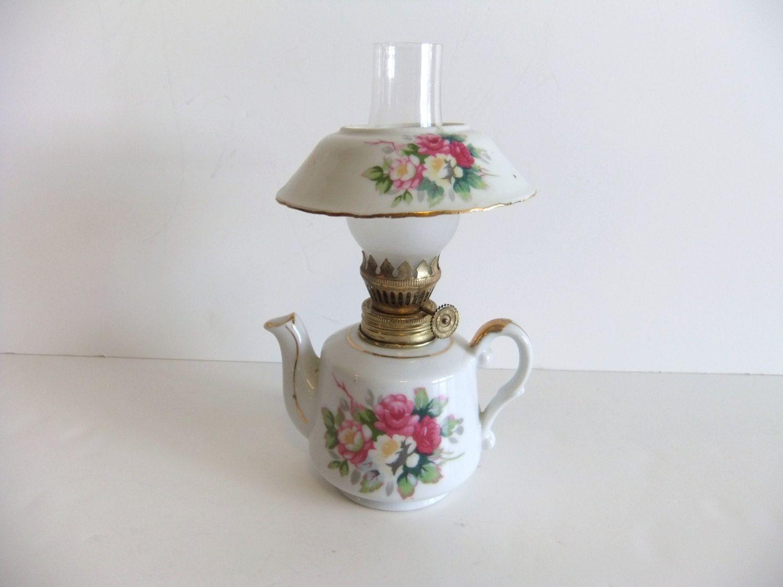 Vintage Oil Lamp Small victorian Kerosene Lamp. $32.00, via Etsy.
