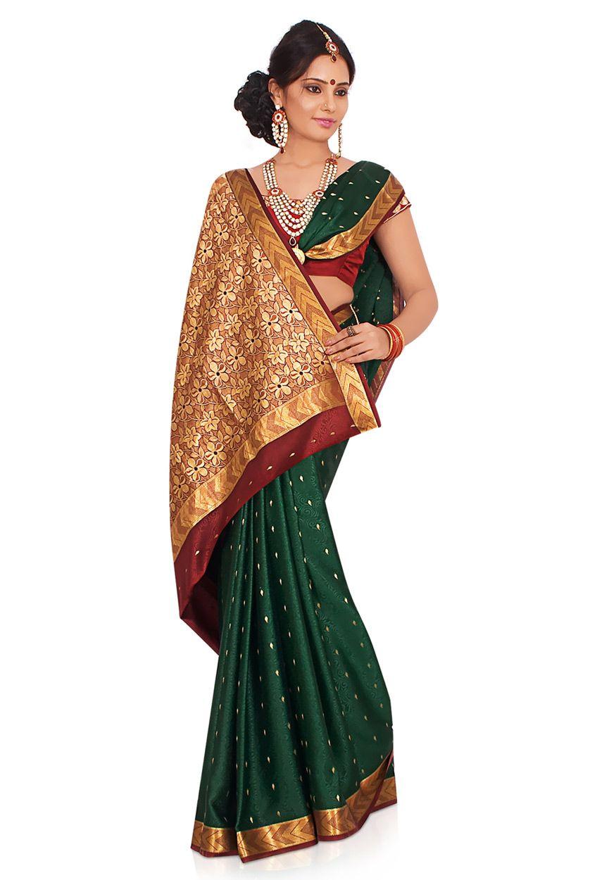 64c8a7095e4d04 Bottle Green Pure Mysore Silk Saree with Blouse Online Shopping: SCX10B