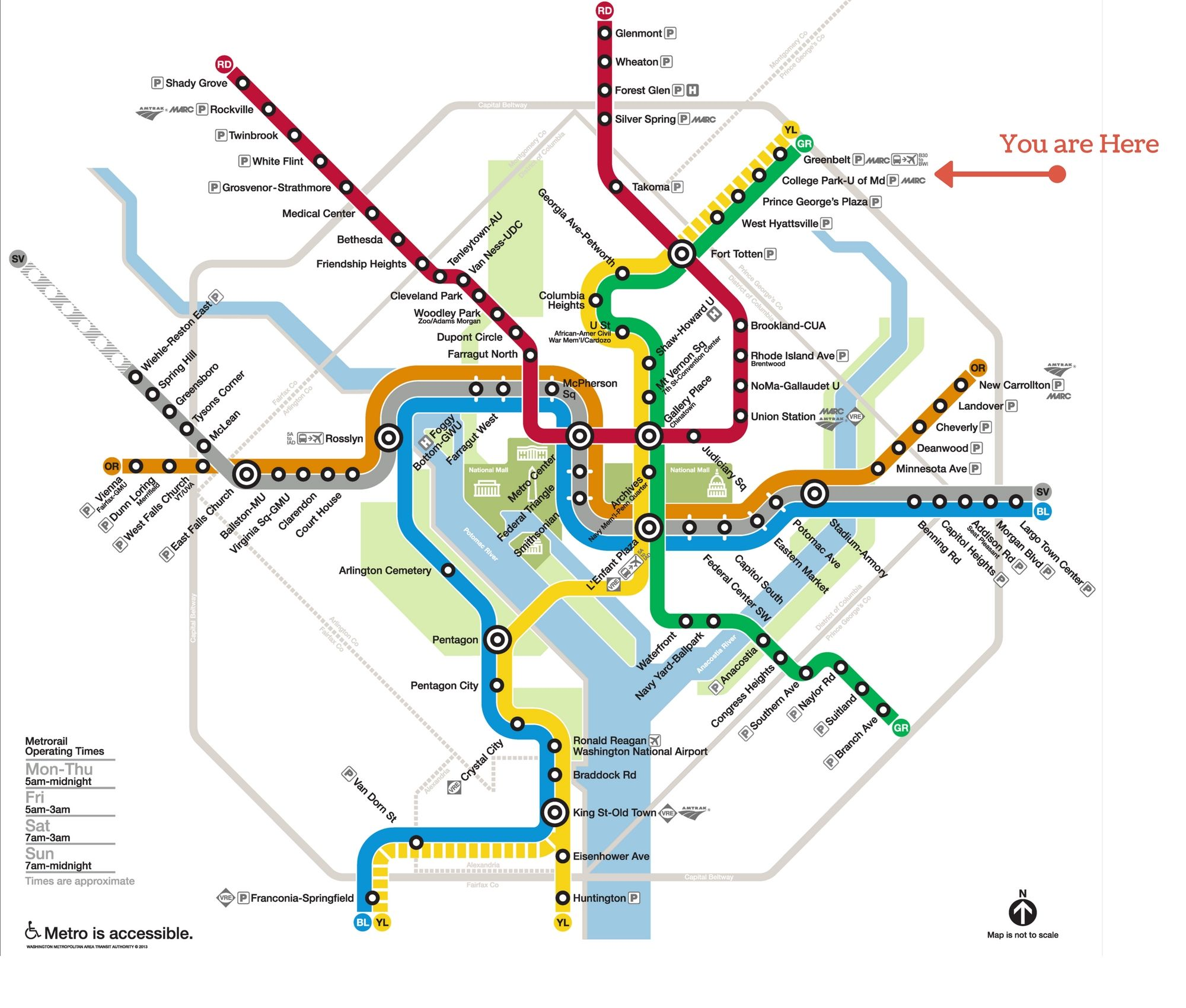 Dc Subway Map Pillow.Washington Dc Metro Map Cherry Hill Park Labeled You Are Here With