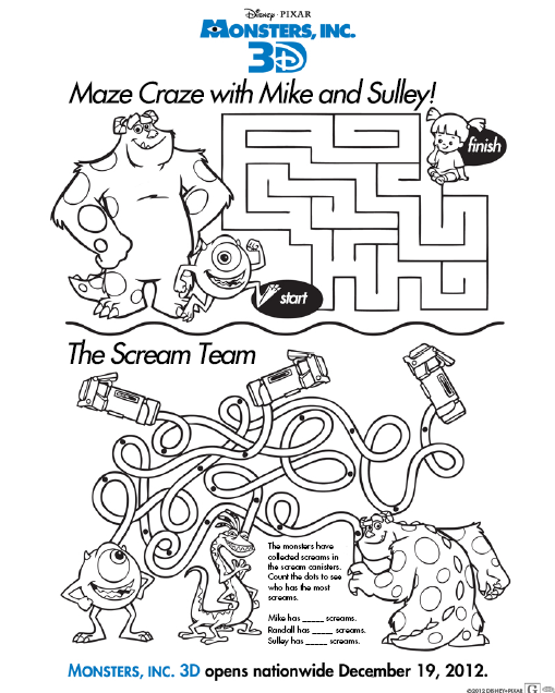 Disney Monsters Inc 3d Sulley Mike Maze Activity Sheet