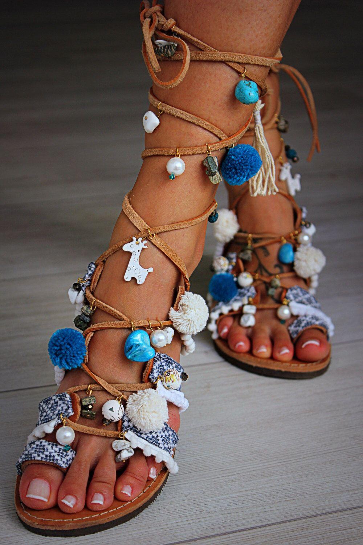 0304f6a1436 Tie Up Gladiator Sandals, Greek Sandals, Semi Precious Stones, Swarovski, Pom  Pom