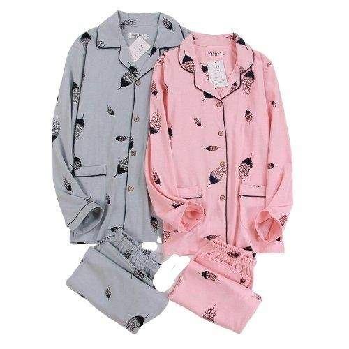 Matching Couple Jammies Spring Blue and Pink - Women / M