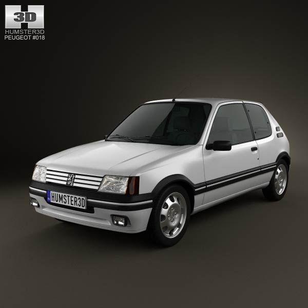 3d Model Of Peugeot 205 3 Door Gti 1983 1998 Bmw Voiture Psa