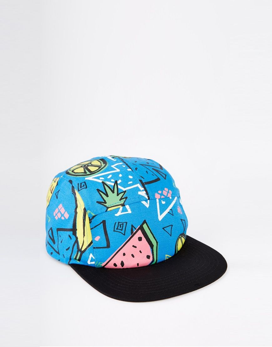 48699dffe26 Image 1 of ASOS 5 Panel Cap In Blue With Pineapple Print