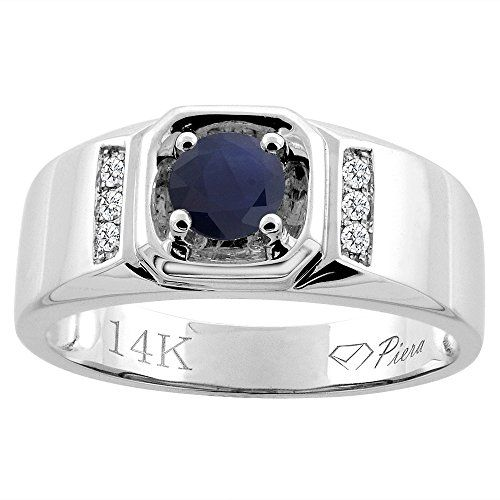 14k White Gold Natural Hq Blue Sapphire Men S Ring Diamond Accented 5 16 Inch Wide Sizes 9 14 Cincin