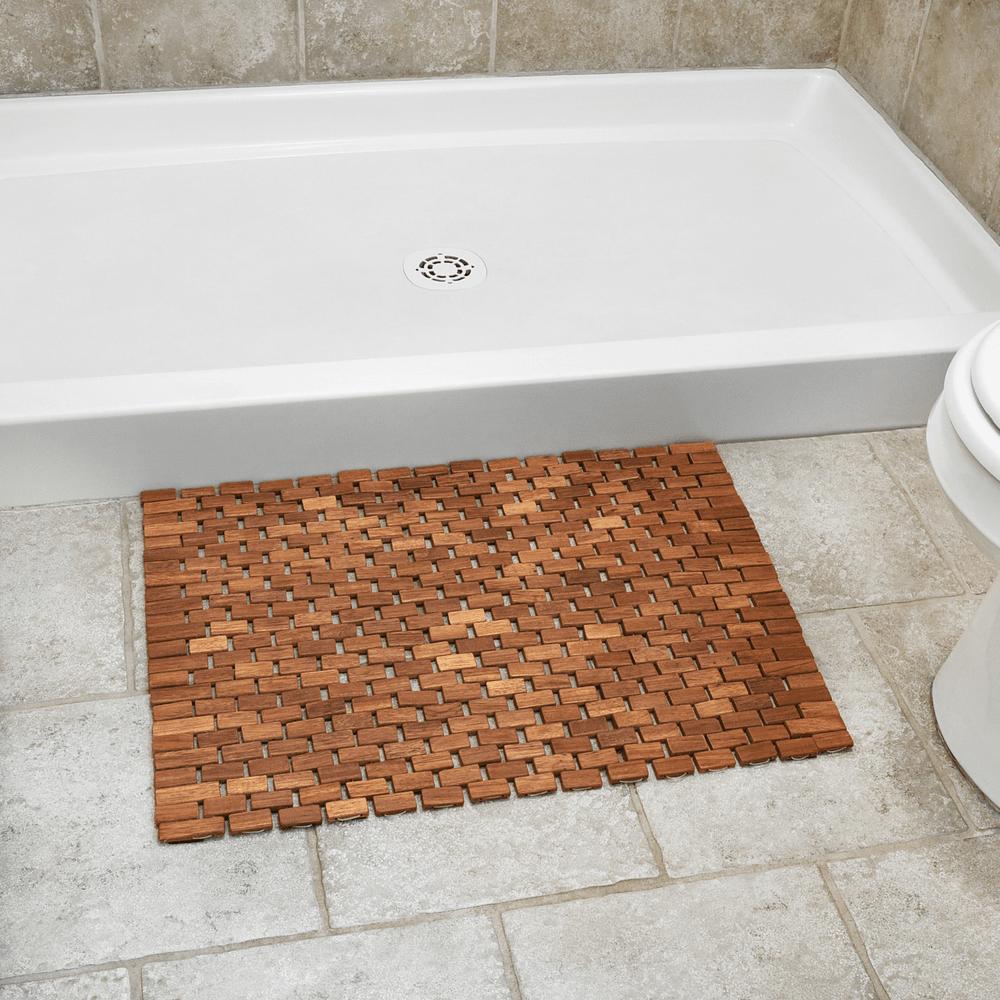 Outside Of Shower Folding Teak Bath Mat With Non Slip Grips For Bathroom Or Shower Floor Teak Bath Diy Bathroom Design Shower Floor