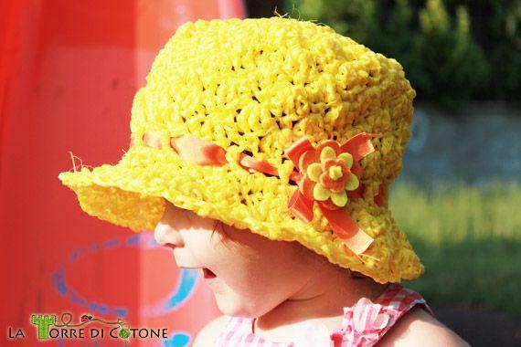 Risultati immagini per tutorial cappello in rafia per bimba