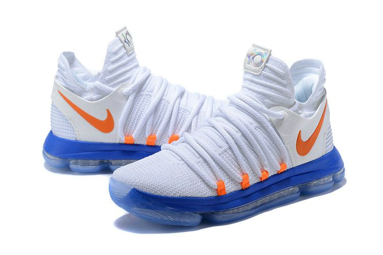 new arrivals 3eca2 8e82c 2018 Nike KD 10 Authentic White Blue Orange Sneakers