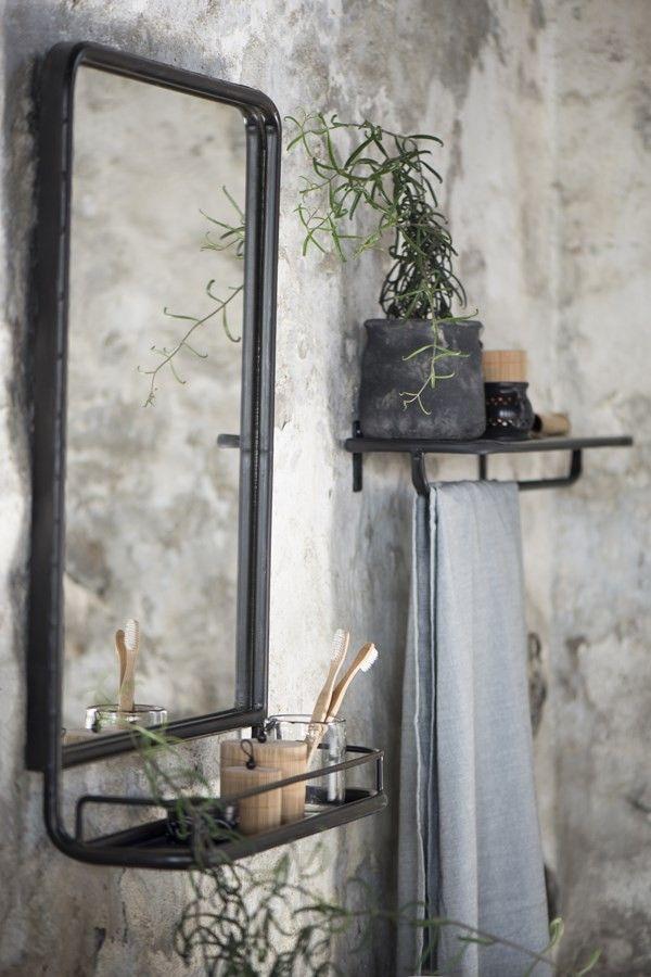 Zwart grijs metalen spiegel met planchet 70 cm hoog x 50 for Mirror 50 x 70