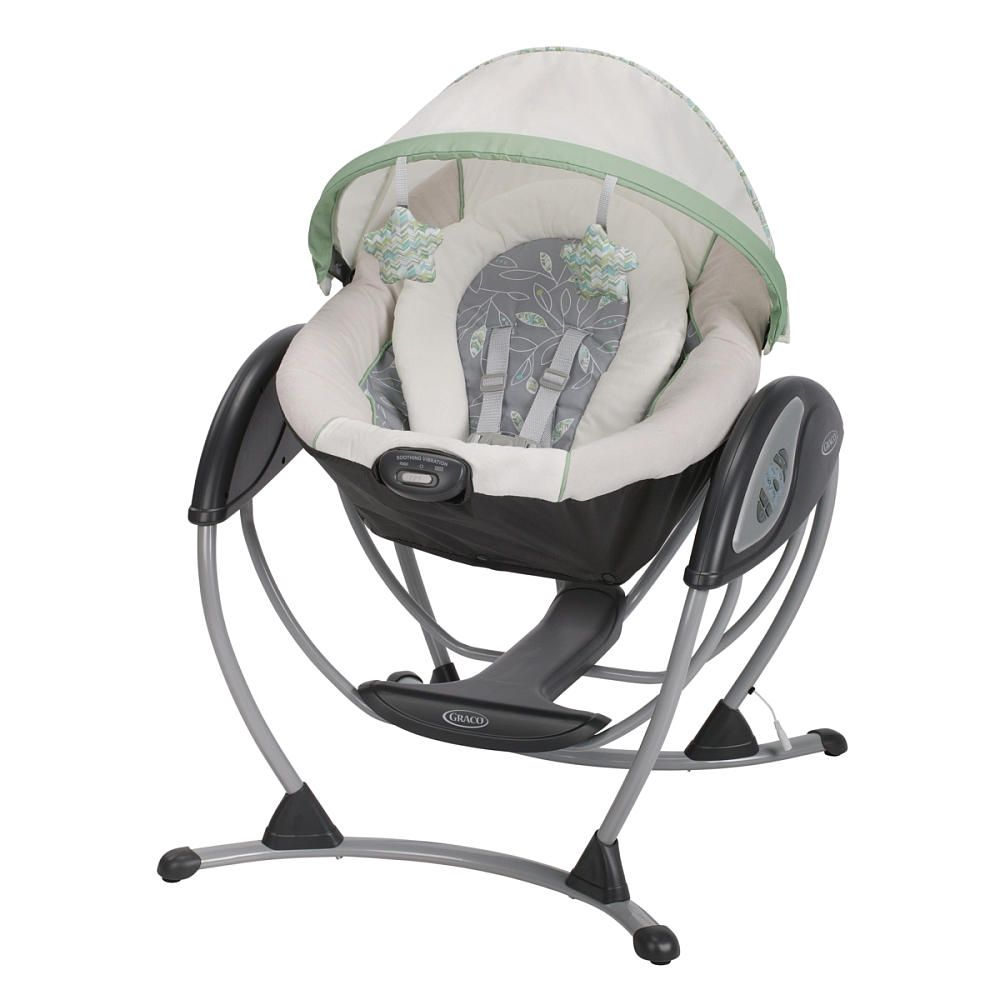 graco glider dlx in soothing green and grey greenhill fashion glide and swing