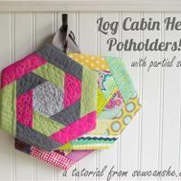 Log Cabin Hexi Potholder - via @Craftsy