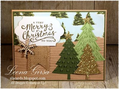 a la cards merry little trees su rustic christmas card featuring the peaceful - Rustic Christmas Cards
