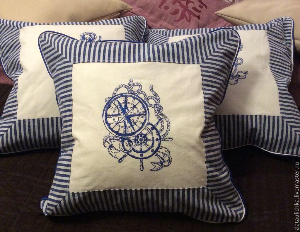 """Купить Подушки с вышивкой """"Морской клуб"""". - подушка с вышивкой, декоративная подушка, морской стиль, якорь"""