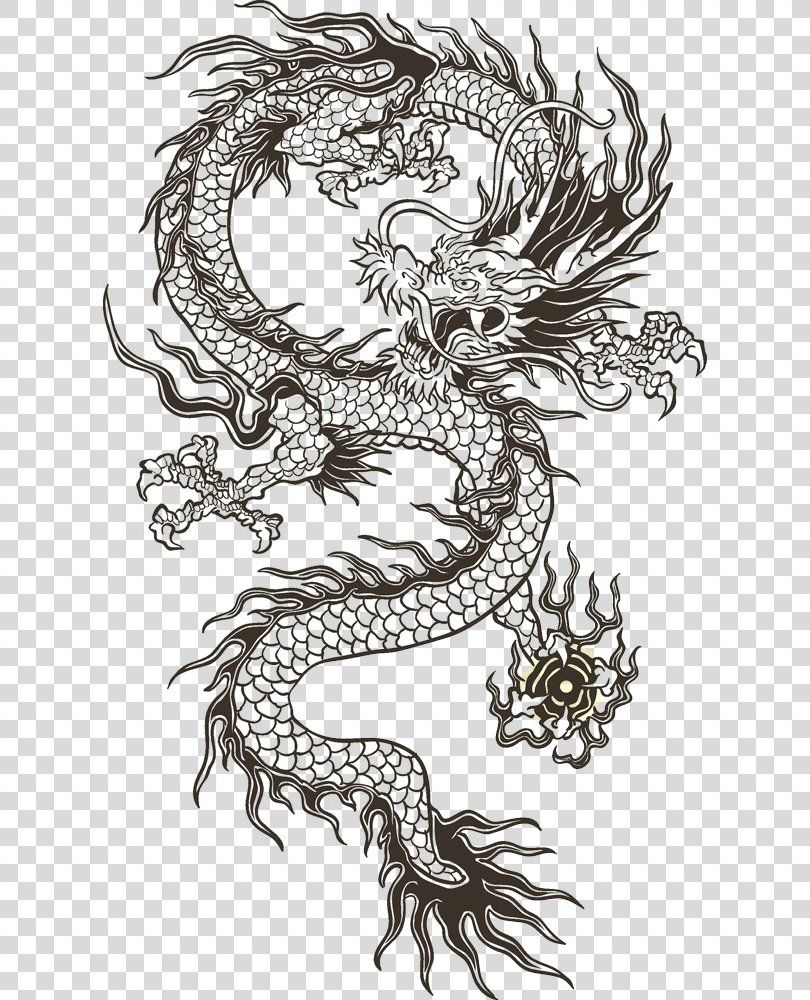 Chinese Dragon Illustration Chinese Dragon Totem Png China Animation Art Black And White Dragon Illustration Japanese Dragon Tattoo Small Dragon Tattoos