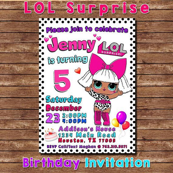 LOL Surprise Birthday Invitation Themed Party Lol Invite Dolls DIVA