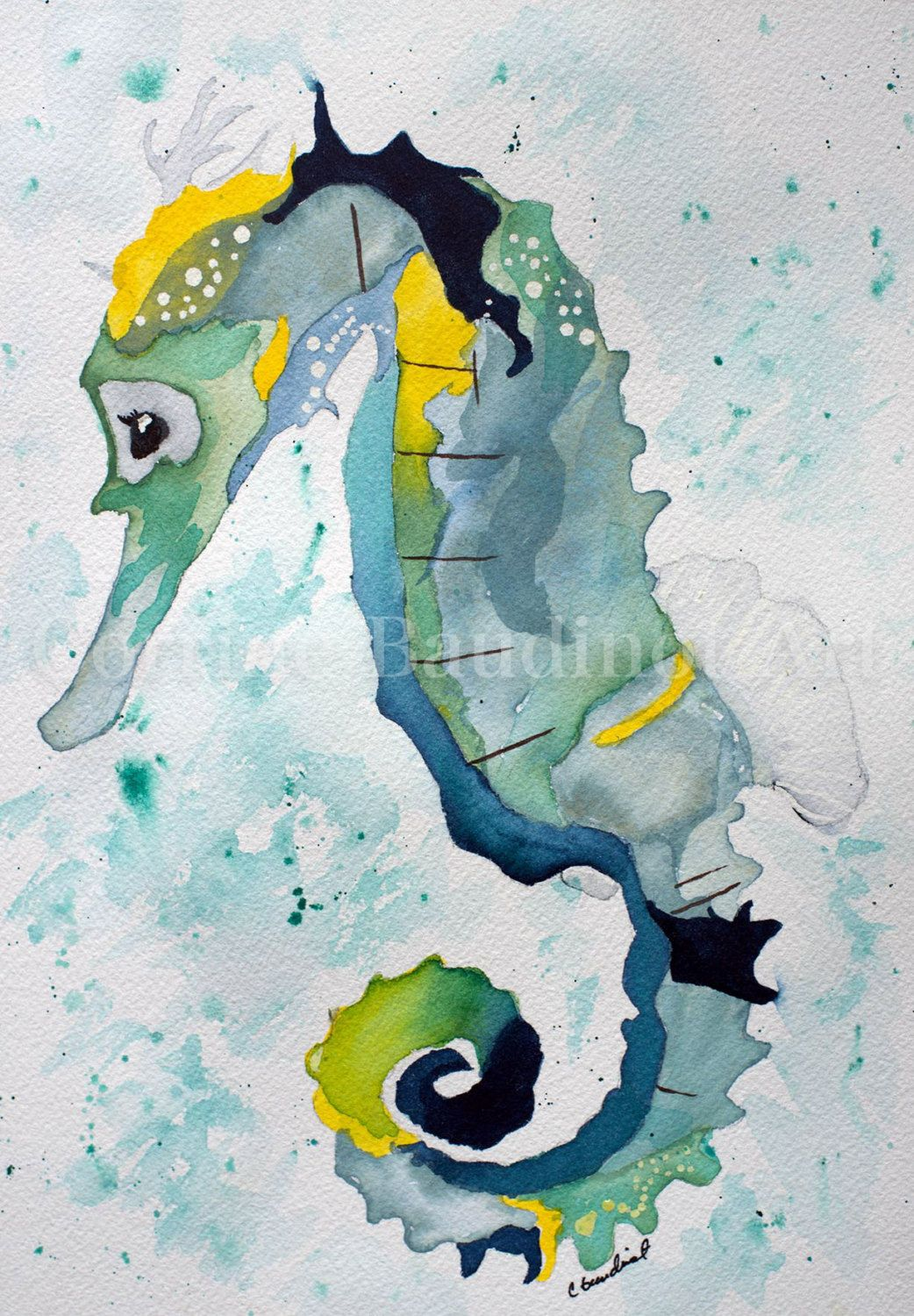 Seahorse Wall Decor watercolor painting of seahorse, nautical watercolor art, seahorse