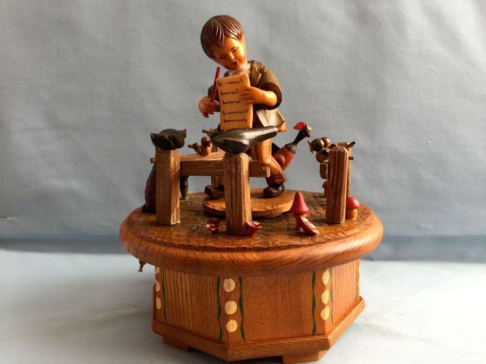Anri music box thorens swiss the morning hand carved wood