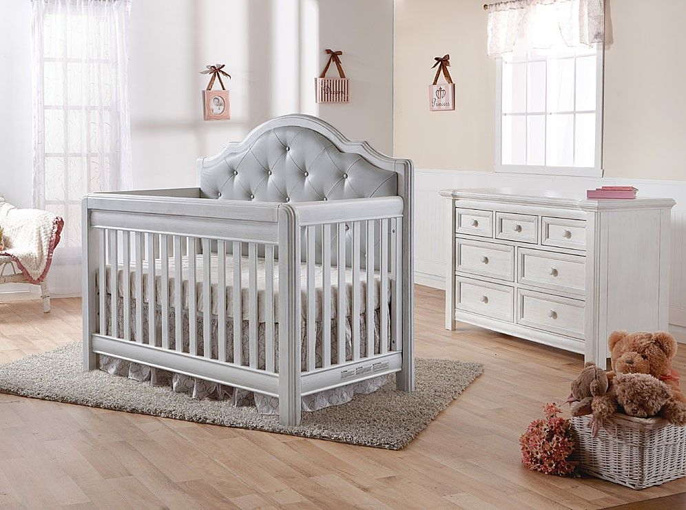 Pali Cristallo 2 Piece Nursery Set In Vintage White With Leather Panel Crib Double Dresser Baby Furniture Sets Cribs Baby Furniture