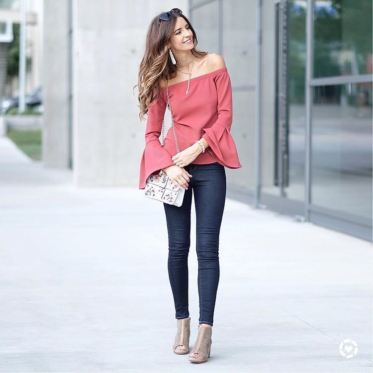 Who doesn't need a cute OTS top with some bell sleeves.  #fashionista #mystyle : @luisas.secret via @myviewinheels