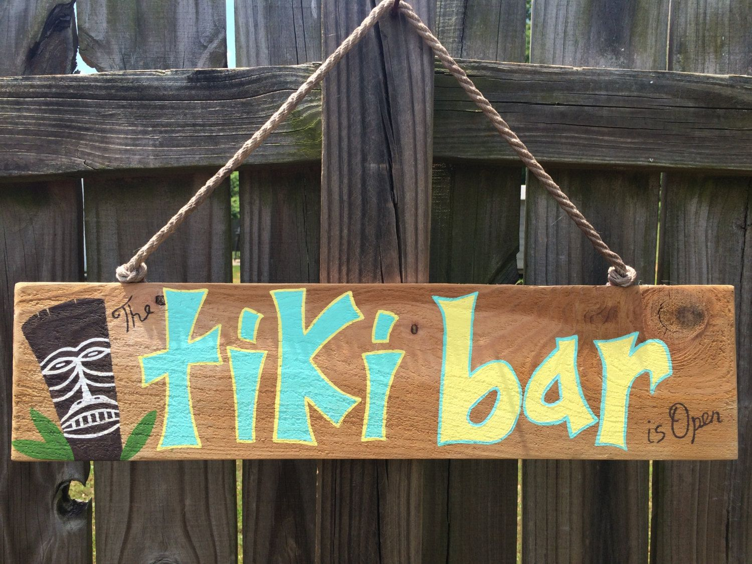 The tiki bar is openwood sign hand painted wall art wall decor by