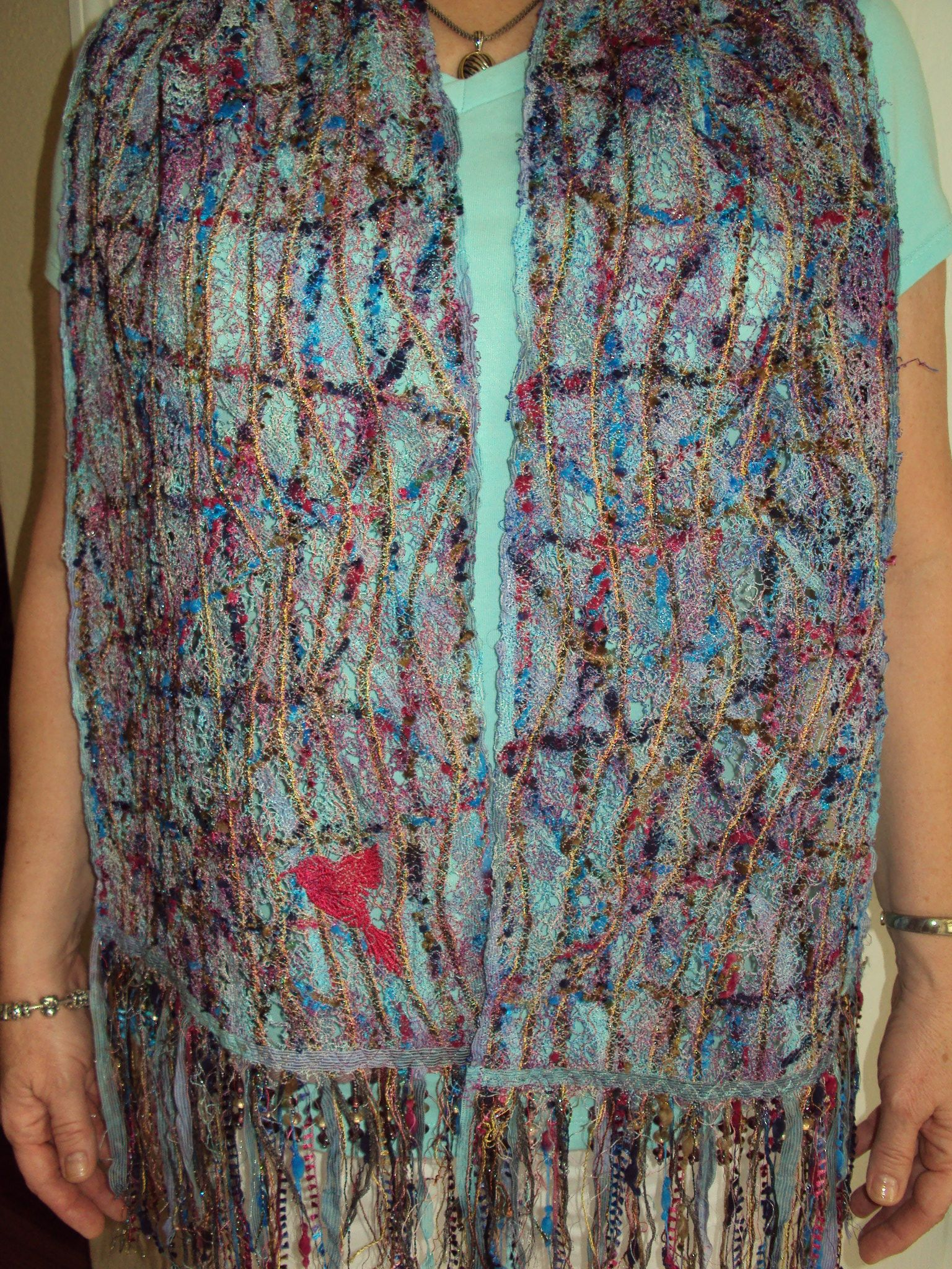 Sewing Machine made scarf with embroidery